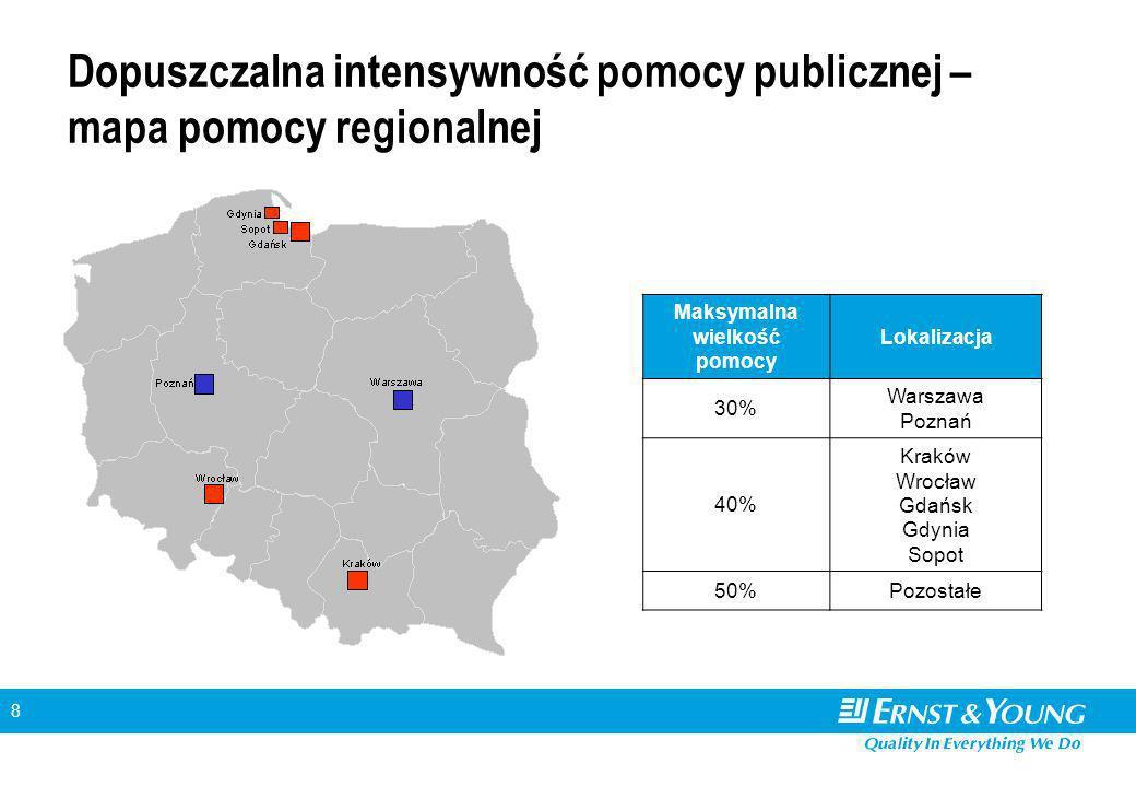 8 Dopuszczalna intensywność pomocy publicznej – mapa pomocy regionalnej Maksymalna wielkość pomocy Lokalizacja 30% Warszawa Poznań 40% Kraków Wrocław Gdańsk Gdynia Sopot 50%Pozostałe