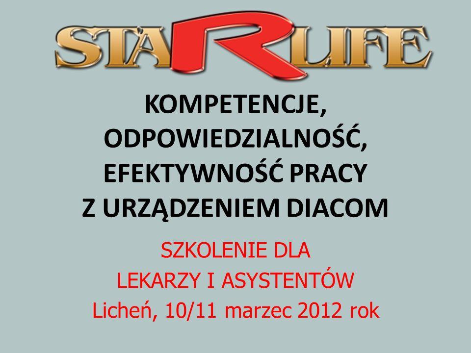 KOMPETENCJE, ODPOWIEDZIALNOŚĆ, EFEKTYWNOŚĆ PRACY Z URZĄDZENIEM DIACOM SZKOLENIE DLA LEKARZY I ASYSTENTÓW Licheń, 10/11 marzec 2012 rok