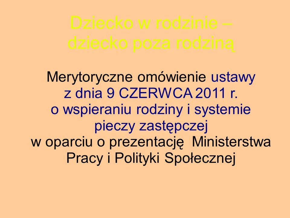 Ustawa określa w swoich rozdziałach: 1.Zasady i formy wspierania rodziny przeżywającej trudności w wypełnianiu funkcji opiekuńczo - wychowawczych; 2.Zasady i formy sprawowania pieczy zastępczej oraz pomocy w usamodzielnianiu jej pełnoletnich wychowanków; 3.Zadania administracji publicznej w zakresie wspierania rodziny i systemu pieczy zastępczej; 4.Zasady finansowania wspierania rodziny i systemu pieczy zastępczej; 5.Zadania w zakresie postępowania adopcyjnego.