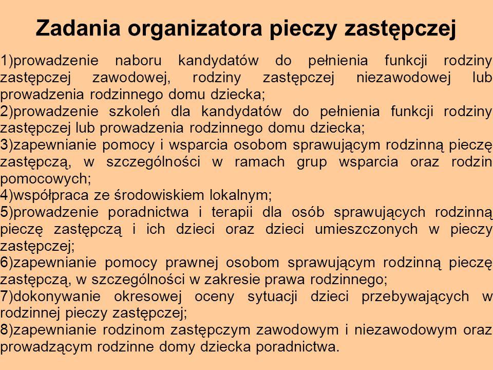 Zadania organizatora pieczy zastępczej 1)prowadzenie naboru kandydatów do pełnienia funkcji rodziny zastępczej zawodowej, rodziny zastępczej niezawodo