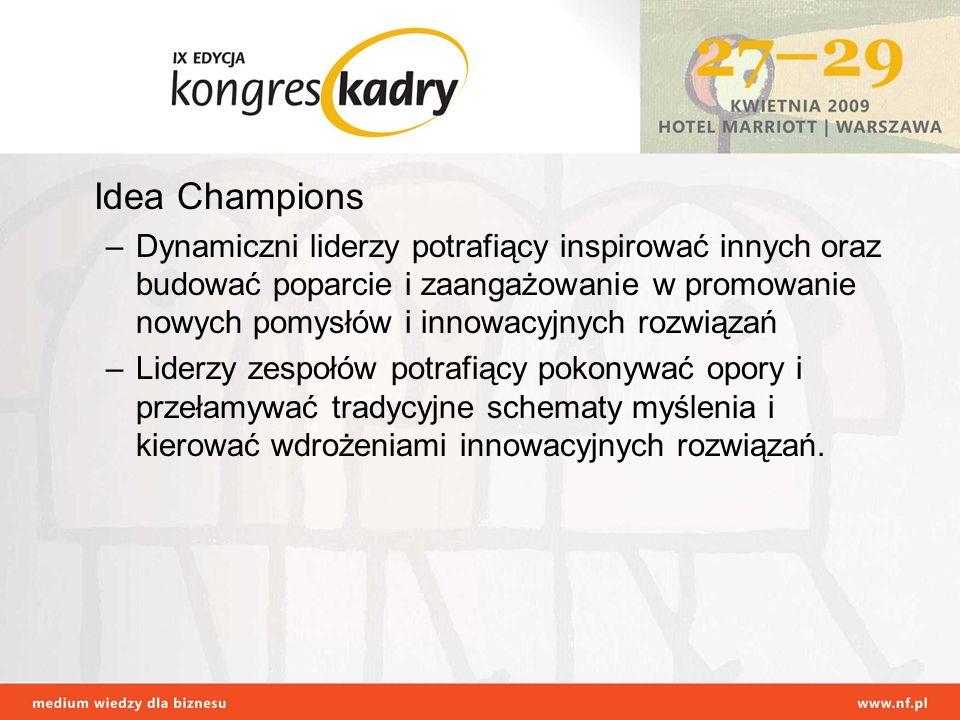 Idea Champions –Dynamiczni liderzy potrafiący inspirować innych oraz budować poparcie i zaangażowanie w promowanie nowych pomysłów i innowacyjnych roz