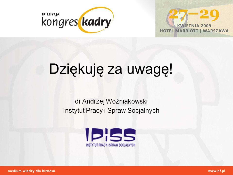 Dziękuję za uwagę! dr Andrzej Woźniakowski Instytut Pracy i Spraw Socjalnych