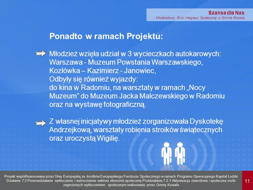 11 Projekt współfinansowany przez Unię Europejską ze środków Europejskiego Funduszu Społecznego w ramach Programu Operacyjnego Kapitał Ludzki Działanie 7.2 Przeciwdziałanie wykluczeniu i wzmocnienie sektora ekonomii społecznej Poddziałanie 7.2.1 Aktywizacja zawodowa i społeczna osób zagrożonych wykluczeniem społecznym realizowany przez Gminę Kowala Szansa dla Nas - Młodzieżowy Klub Integracji Społecznej w Gminie Kowala Ponadto w ramach Projektu: Młodzież wzięła udział w 3 wycieczkach autokarowych: Warszawa - Muzeum Powstania Warszawskiego, Kozłówka – Kazimierz - Janowiec, Odbyły się również wyjazdy: do kina w Radomiu, na warsztaty w ramach Nocy Muzeum do Muzeum Jacka Malczewskiego w Radomiu oraz na wystawę fotograficzną.