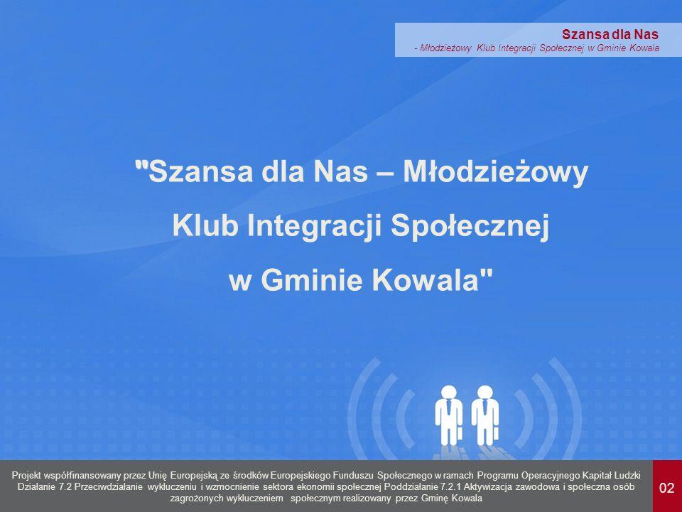 02 Projekt współfinansowany przez Unię Europejską ze środków Europejskiego Funduszu Społecznego w ramach Programu Operacyjnego Kapitał Ludzki Działanie 7.2 Przeciwdziałanie wykluczeniu i wzmocnienie sektora ekonomii społecznej Poddziałanie 7.2.1 Aktywizacja zawodowa i społeczna osób zagrożonych wykluczeniem społecznym realizowany przez Gminę Kowala Szansa dla Nas - Młodzieżowy Klub Integracji Społecznej w Gminie Kowala Szansa dla Nas – Młodzieżowy Klub Integracji Społecznej w Gminie Kowala