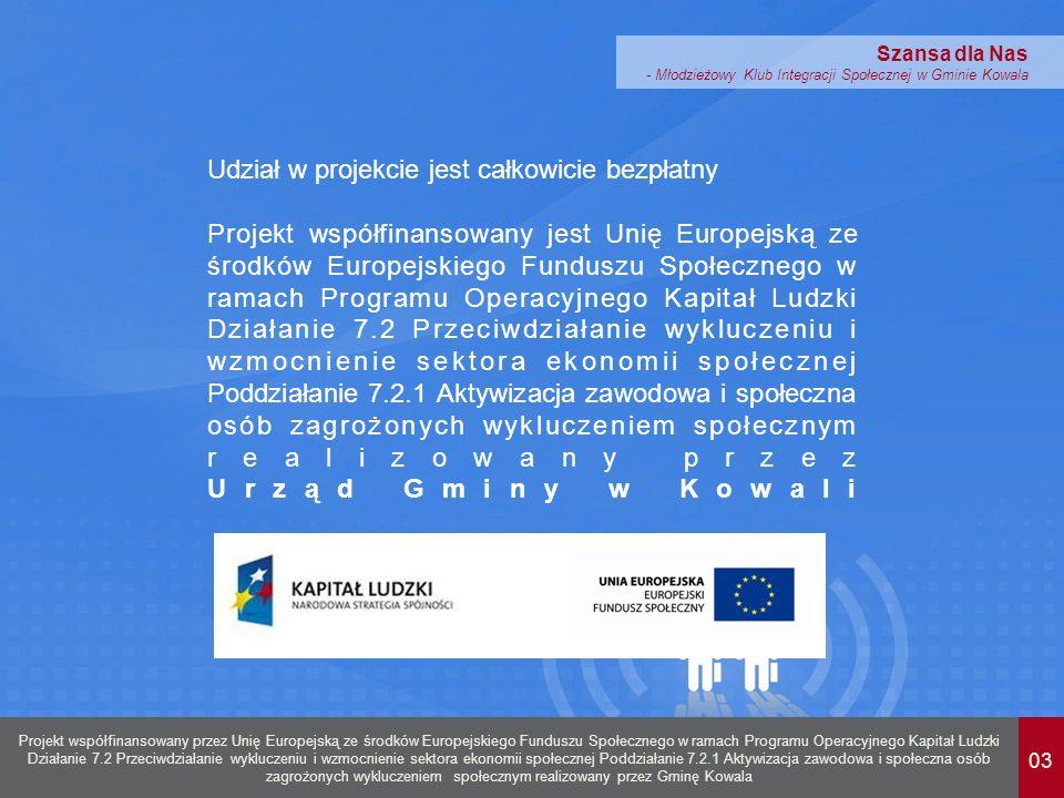 03 Projekt współfinansowany przez Unię Europejską ze środków Europejskiego Funduszu Społecznego w ramach Programu Operacyjnego Kapitał Ludzki Działanie 7.2 Przeciwdziałanie wykluczeniu i wzmocnienie sektora ekonomii społecznej Poddziałanie 7.2.1 Aktywizacja zawodowa i społeczna osób zagrożonych wykluczeniem społecznym realizowany przez Gminę Kowala Szansa dla Nas - Młodzieżowy Klub Integracji Społecznej w Gminie Kowala Udział w projekcie jest całkowicie bezpłatny Projekt współfinansowany jest Unię Europejską ze środków Europejskiego Funduszu Społecznego w ramach Programu Operacyjnego Kapitał Ludzki Działanie 7.2 Przeciwdziałanie wykluczeniu i wzmocnienie sektora ekonomii społecznej Poddziałanie 7.2.1 Aktywizacja zawodowa i społeczna osób zagrożonych wykluczeniem społecznym realizowany przez Urząd Gminy w Kowali