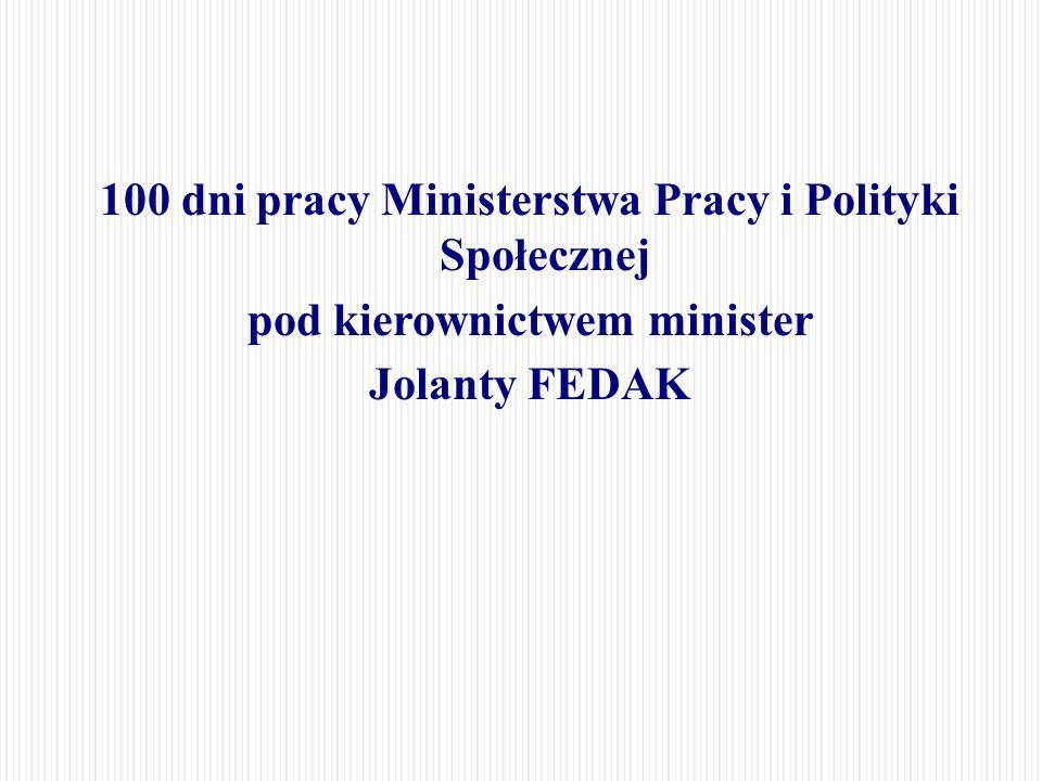 100 dni pracy Ministerstwa Pracy i Polityki Społecznej pod kierownictwem minister Jolanty FEDAK
