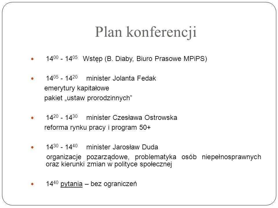 Plan konferencji 14 00 - 14 05 Wstęp (B. Diaby, Biuro Prasowe MPiPS) 14 05 - 14 20 minister Jolanta Fedak emerytury kapitałowe pakiet ustaw prorodzinn