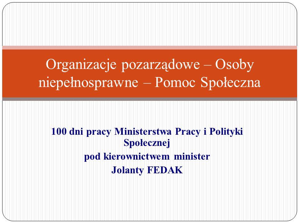 100 dni pracy Ministerstwa Pracy i Polityki Społecznej pod kierownictwem minister Jolanty FEDAK Organizacje pozarządowe – Osoby niepełnosprawne – Pomo