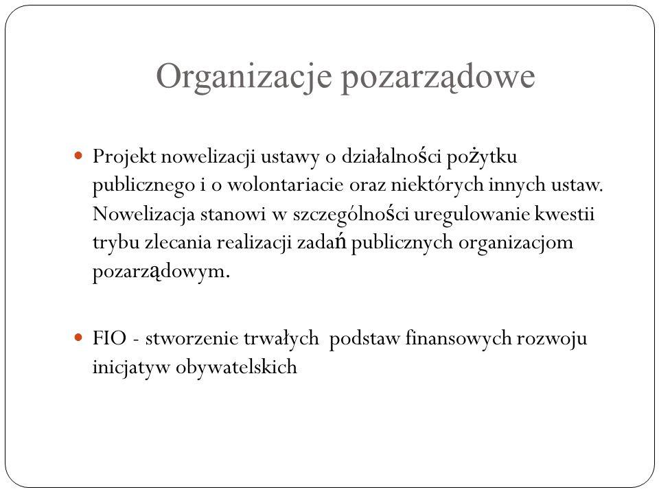 Organizacje pozarządowe Projekt nowelizacji ustawy o działalno ś ci po ż ytku publicznego i o wolontariacie oraz niektórych innych ustaw. Nowelizacja