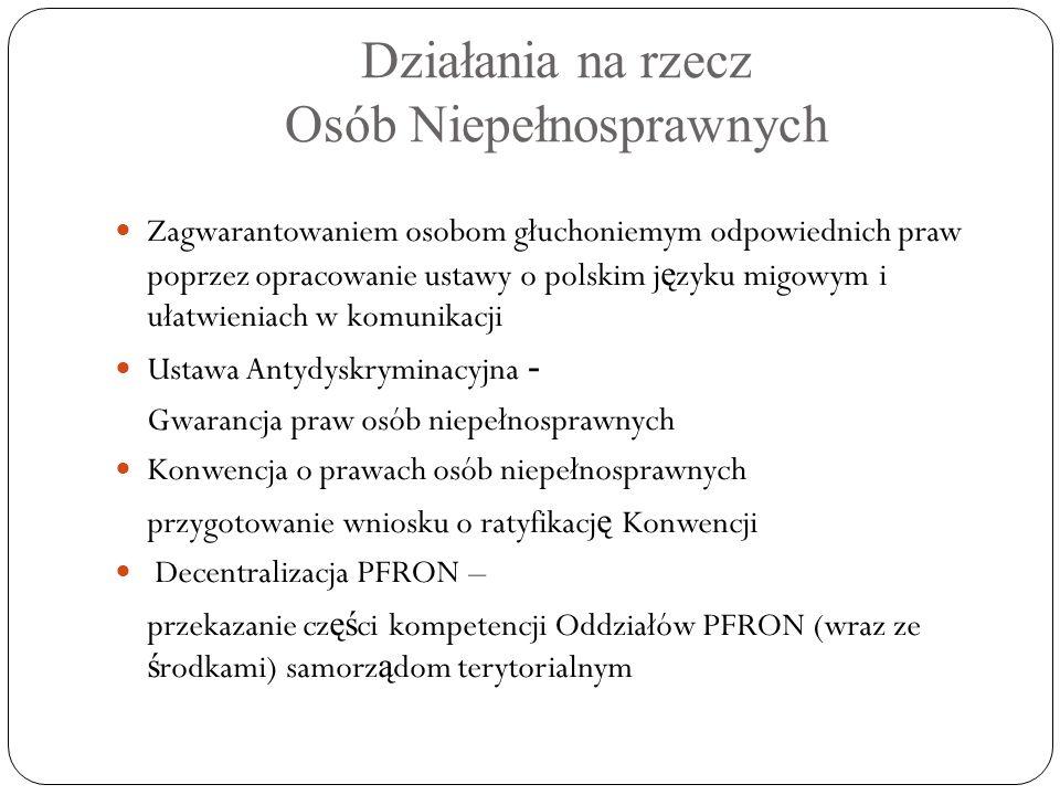 Działania na rzecz Osób Niepełnosprawnych Zagwarantowaniem osobom głuchoniemym odpowiednich praw poprzez opracowanie ustawy o polskim j ę zyku migowym