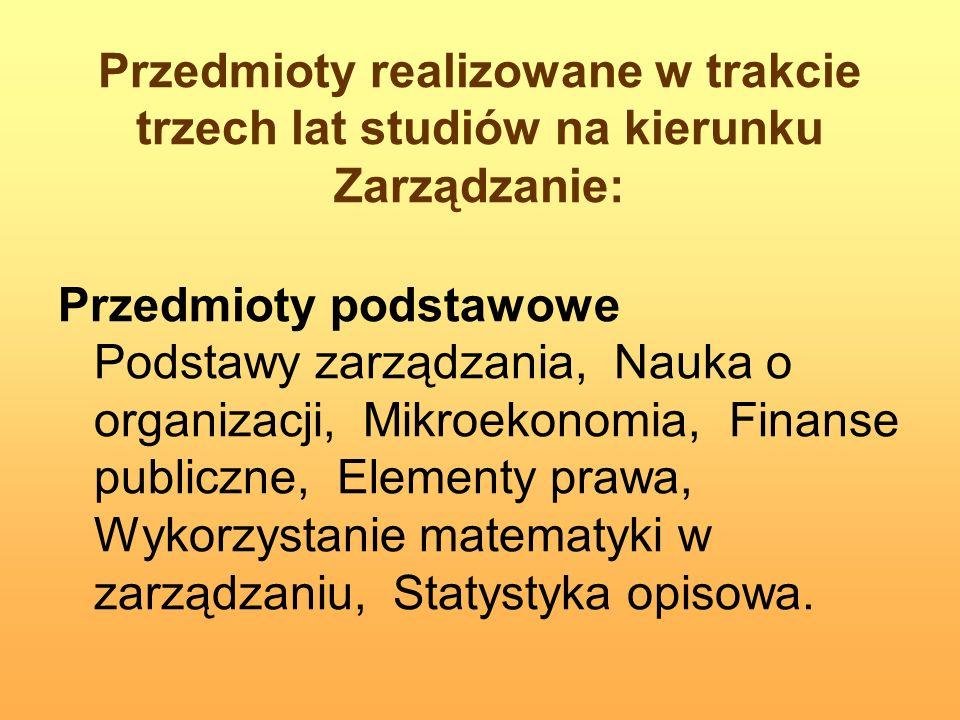 Przedmioty realizowane w trakcie trzech lat studiów na kierunku Zarządzanie: Przedmioty podstawowe Podstawy zarządzania, Nauka o organizacji, Mikroeko