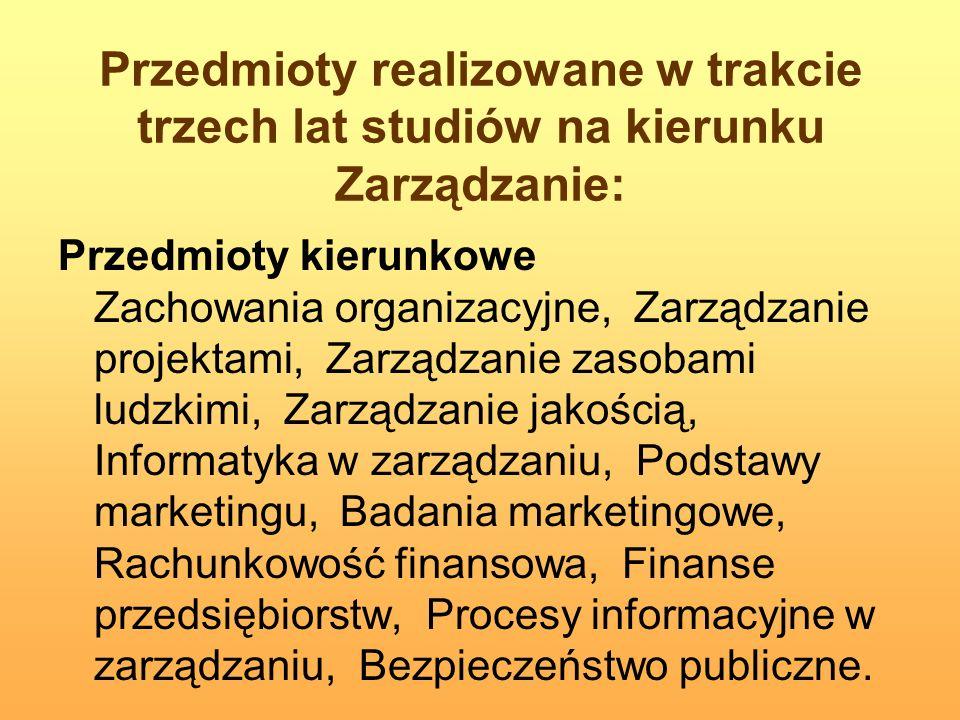 Przedmioty realizowane w trakcie trzech lat studiów na kierunku Zarządzanie: Przedmioty kierunkowe Zachowania organizacyjne, Zarządzanie projektami, Z