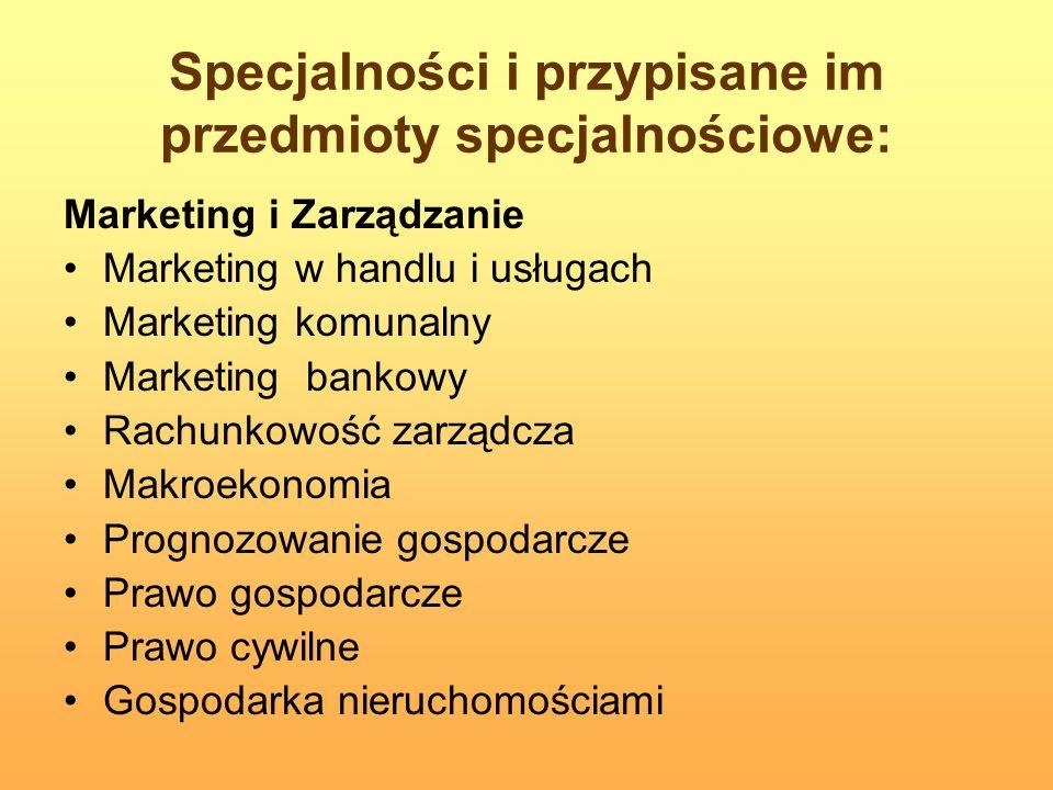 Specjalności i przypisane im przedmioty specjalnościowe: Marketing i Zarządzanie Marketing w handlu i usługach Marketing komunalny Marketing bankowy R