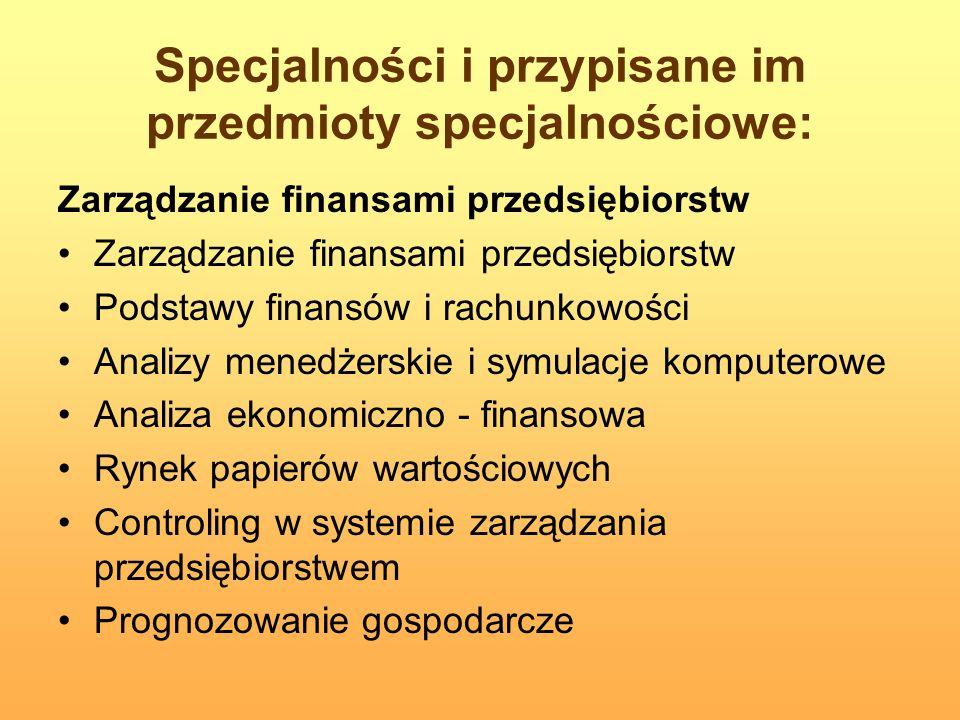Specjalności i przypisane im przedmioty specjalnościowe: Zarządzanie finansami przedsiębiorstw Podstawy finansów i rachunkowości Analizy menedżerskie
