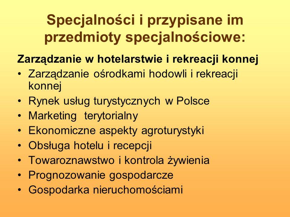 Specjalności i przypisane im przedmioty specjalnościowe: Zarządzanie w hotelarstwie i rekreacji konnej Zarządzanie ośrodkami hodowli i rekreacji konne