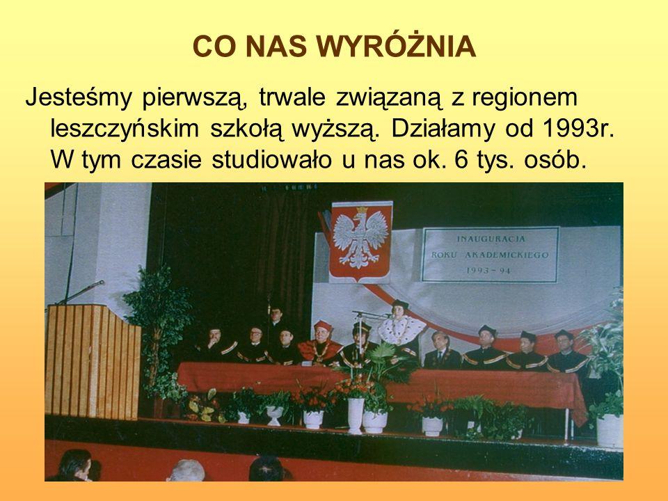 CO NAS WYRÓŻNIA Jesteśmy pierwszą, trwale związaną z regionem leszczyńskim szkołą wyższą. Działamy od 1993r. W tym czasie studiowało u nas ok. 6 tys.