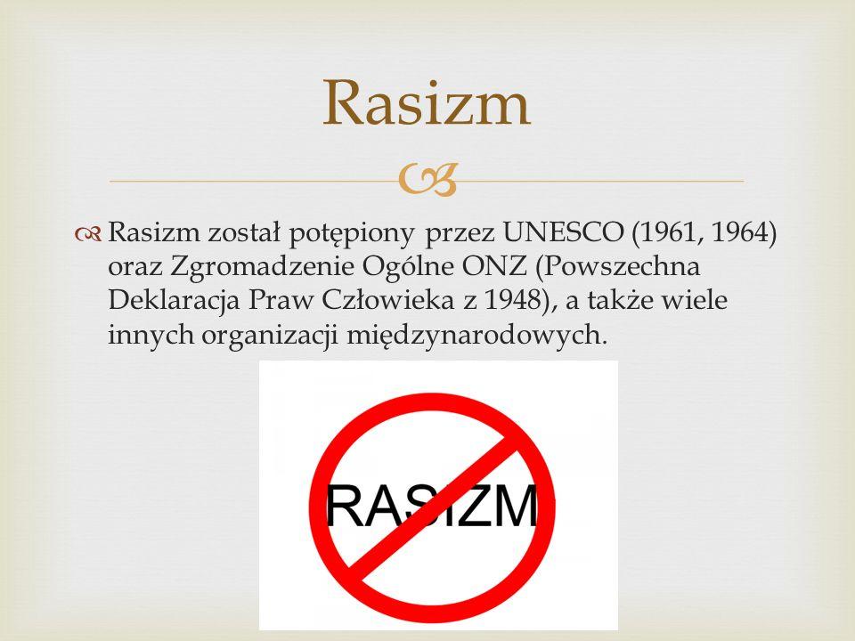 Rasizm został potępiony przez UNESCO (1961, 1964) oraz Zgromadzenie Ogólne ONZ (Powszechna Deklaracja Praw Człowieka z 1948), a także wiele innych organizacji międzynarodowych.