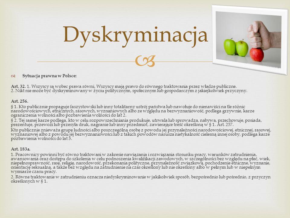 Sytuacja prawna w Polsce: Art. 32. 1. Wszyscy są wobec prawa równi. Wszyscy mają prawo do równego traktowania przez władze publiczne. 2. Nikt nie może