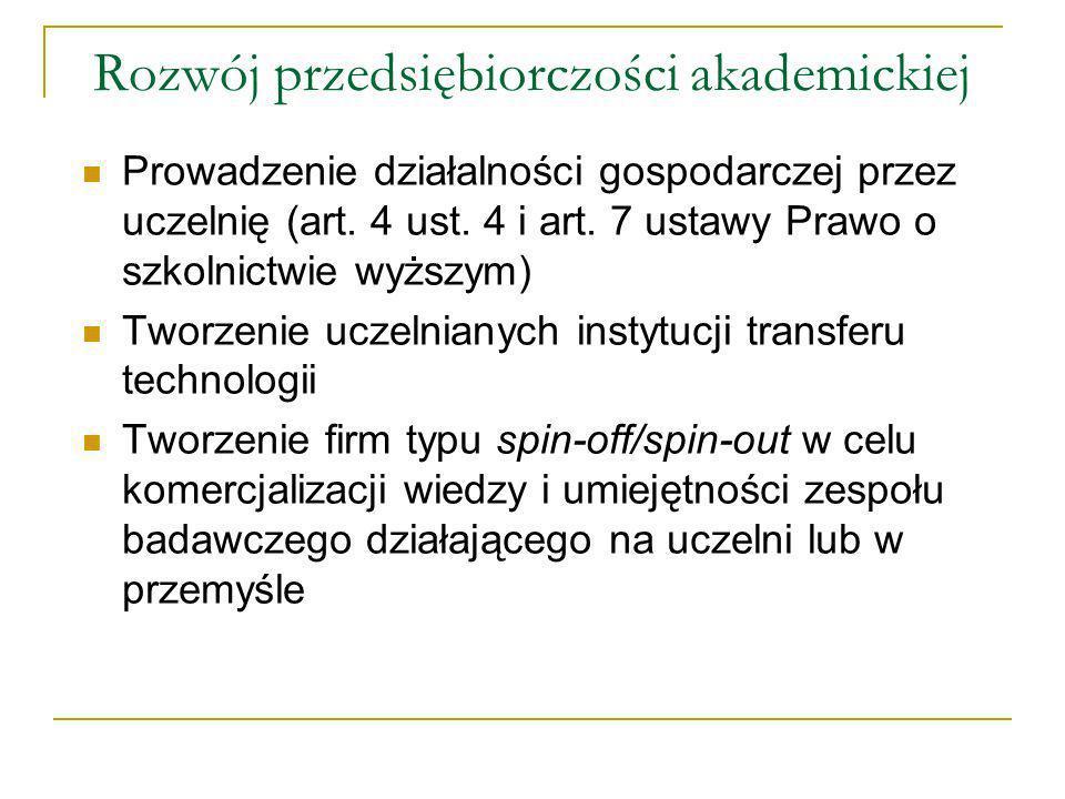 Rozwój przedsiębiorczości akademickiej Prowadzenie działalności gospodarczej przez uczelnię (art.