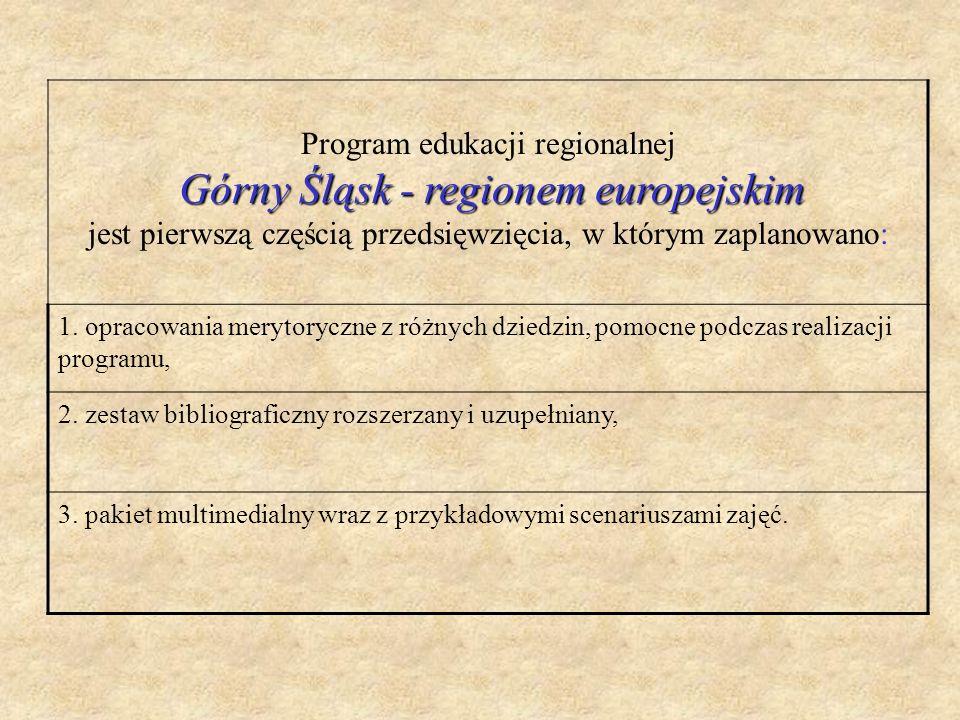 Program edukacji regionalnej Górny Śląsk - regionem europejskim jest pierwszą częścią przedsięwzięcia, w którym zaplanowano: 1. opracowania merytorycz