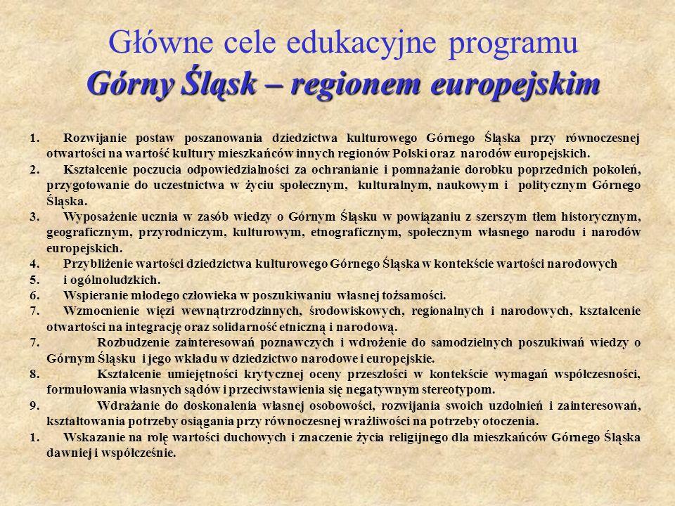 1.Rozwijanie postaw poszanowania dziedzictwa kulturowego Górnego Śląska przy równoczesnej otwartości na wartość kultury mieszkańców innych regionów Po
