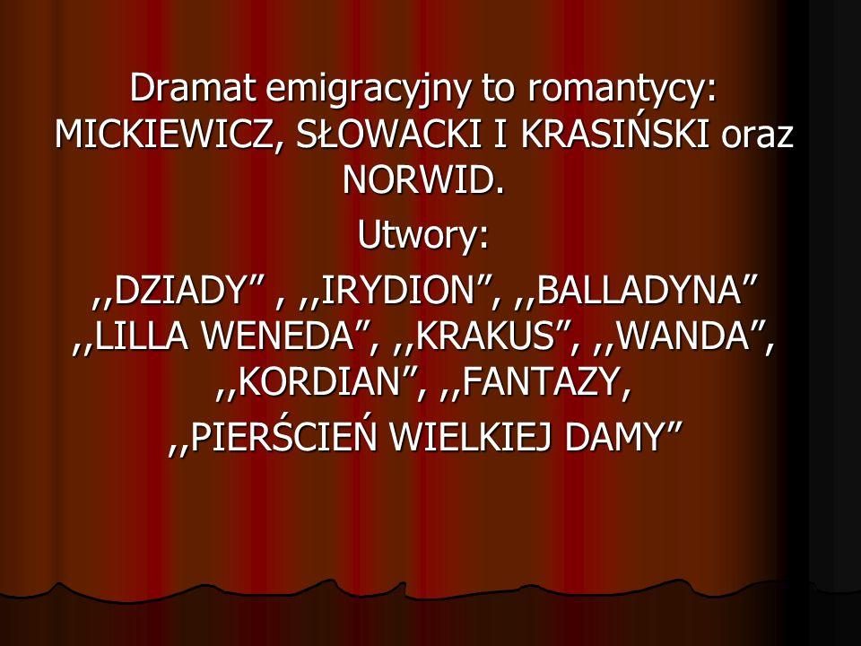 Dramat emigracyjny to romantycy: MICKIEWICZ, SŁOWACKI I KRASIŃSKI oraz NORWID. Utwory:,,DZIADY,,,IRYDION,,,BALLADYNA,,LILLA WENEDA,,,KRAKUS,,,WANDA,,,