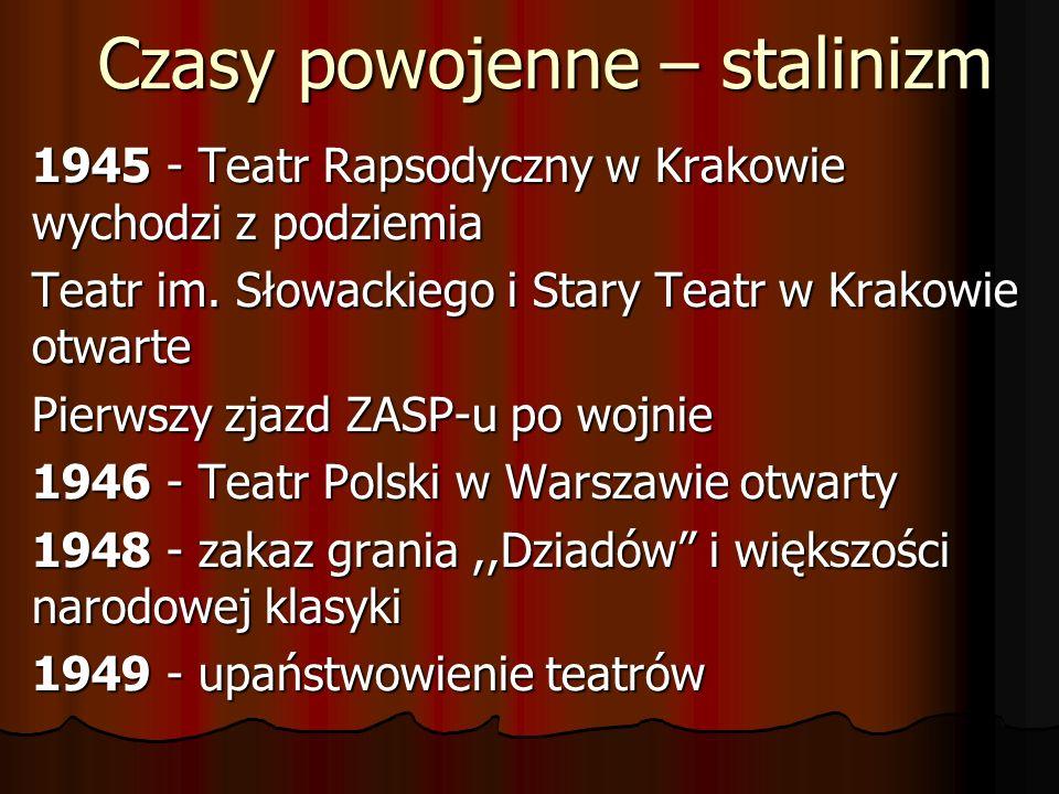 Czasy powojenne – stalinizm 1945 - Teatr Rapsodyczny w Krakowie wychodzi z podziemia Teatr im. Słowackiego i Stary Teatr w Krakowie otwarte Pierwszy z