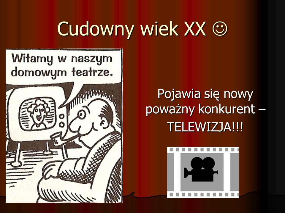 Cudowny wiek XX Cudowny wiek XX Pojawia się nowy poważny konkurent – TELEWIZJA!!!