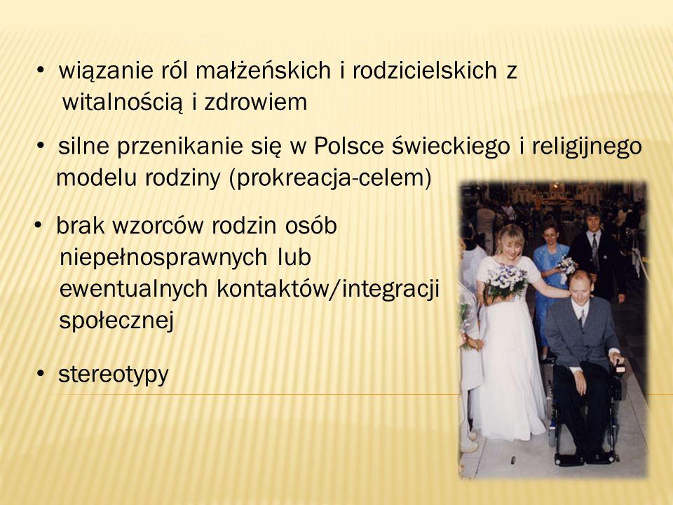 stereotypy wiązanie ról małżeńskich i rodzicielskich z witalnością i zdrowiem silne przenikanie się w Polsce świeckiego i religijnego modelu rodziny (