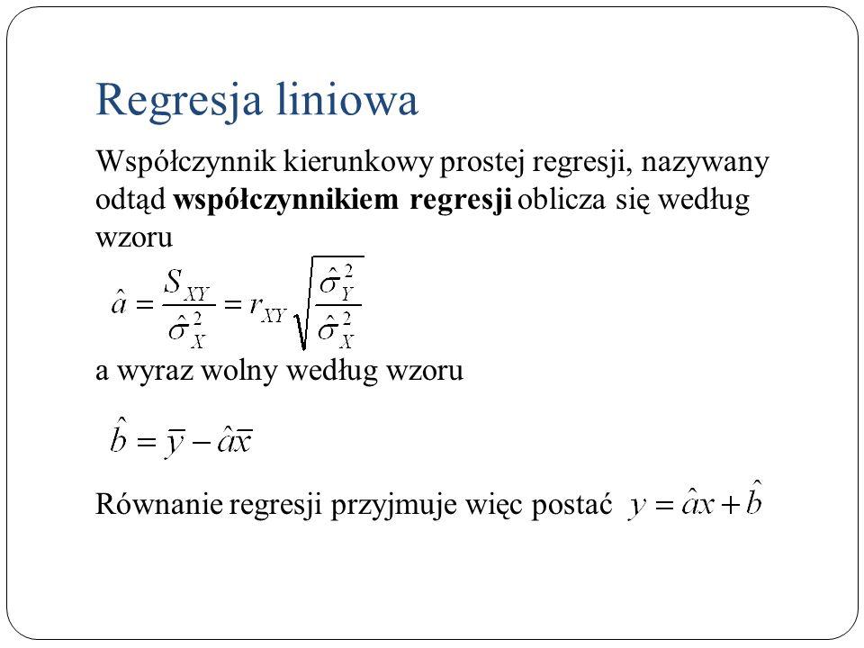 Współczynnik kierunkowy prostej regresji, nazywany odtąd współczynnikiem regresji oblicza się według wzoru a wyraz wolny według wzoru Równanie regresj