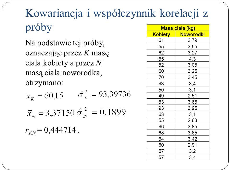 Na podstawie tej próby, oznaczając przez K masę ciała kobiety a przez N masą ciała noworodka, otrzymano: r KN = 0,444714. Kowariancja i współczynnik k