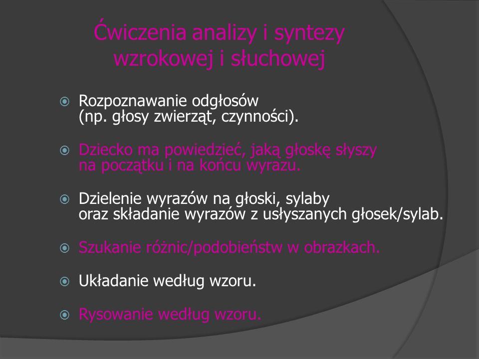 Ćwiczenia analizy i syntezy wzrokowej i słuchowej Rozpoznawanie odgłosów (np. głosy zwierząt, czynności). Dziecko ma powiedzieć, jaką głoskę słyszy na