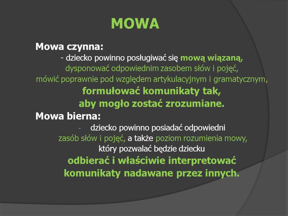 MOWA Mowa czynna: - dziecko powinno posługiwać się mową wiązaną, dysponować odpowiednim zasobem słów i pojęć, mówić poprawnie pod względem artykulacyj