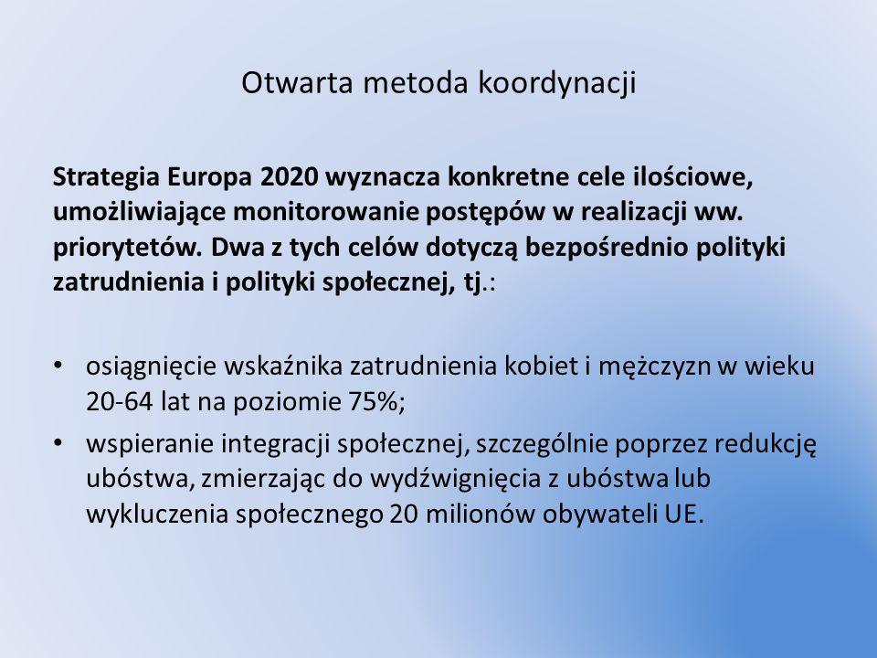Otwarta metoda koordynacji Strategia Europa 2020 wyznacza konkretne cele ilościowe, umożliwiające monitorowanie postępów w realizacji ww. priorytetów.