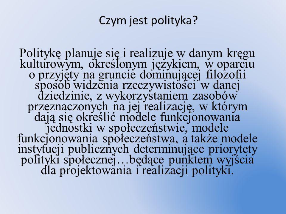 Czym jest polityka? Politykę planuje się i realizuje w danym kręgu kulturowym, określonym językiem, w oparciu o przyjęty na gruncie dominującej filozo