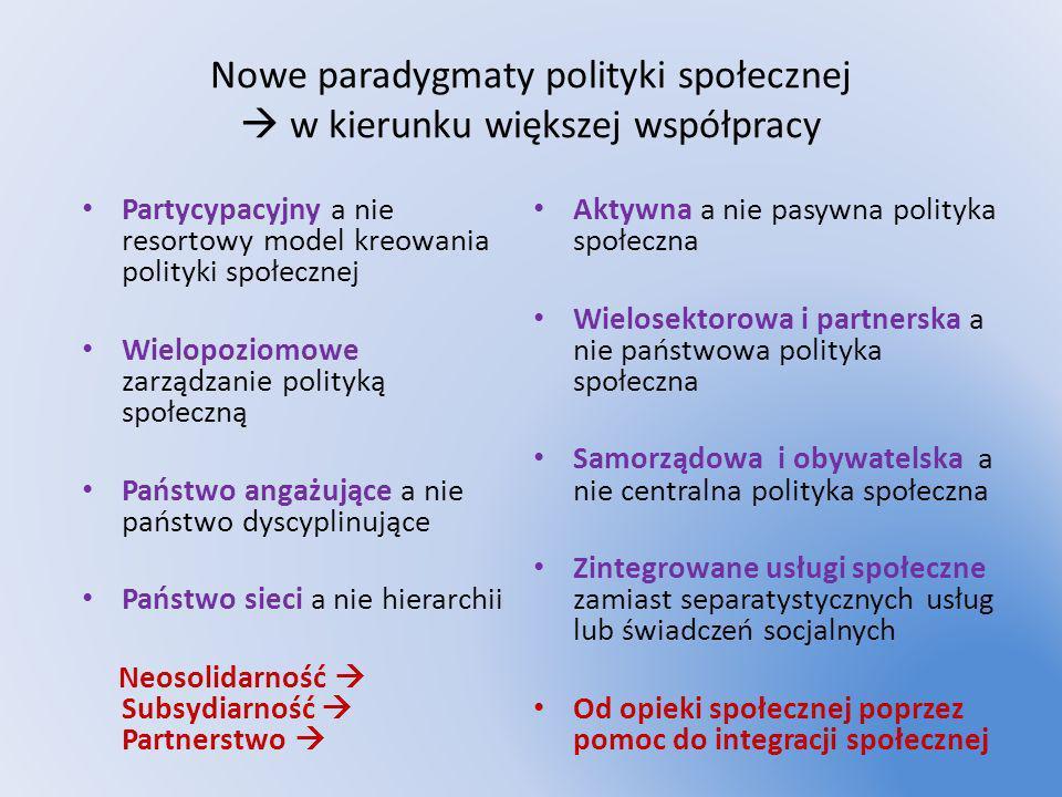Nowe paradygmaty polityki społecznej w kierunku większej współpracy Partycypacyjny a nie resortowy model kreowania polityki społecznej Wielopoziomowe