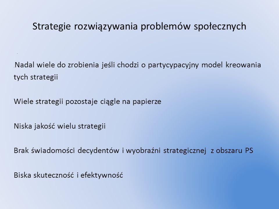 Strategie rozwiązywania problemów społecznych.. Nadal wiele do zrobienia jeśli chodzi o partycypacyjny model kreowania tych strategii Wiele strategii