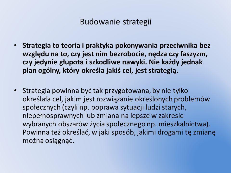 Budowanie strategii Strategia to teoria i praktyka pokonywania przeciwnika bez względu na to, czy jest nim bezrobocie, nędza czy faszyzm, czy jedynie