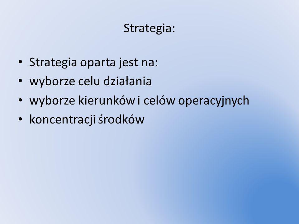 Strategia: Strategia oparta jest na: wyborze celu działania wyborze kierunków i celów operacyjnych koncentracji środków