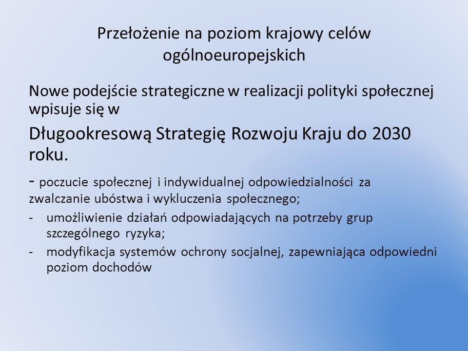 Przełożenie na poziom krajowy celów ogólnoeuropejskich Nowe podejście strategiczne w realizacji polityki społecznej wpisuje się w Długookresową Strate