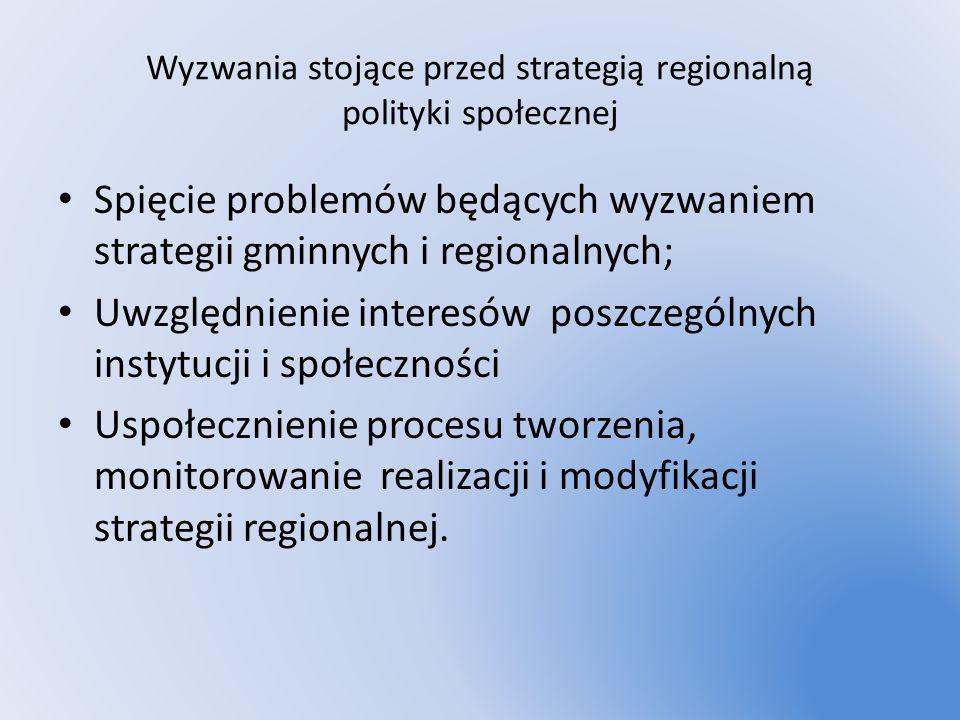 Wyzwania stojące przed strategią regionalną polityki społecznej Spięcie problemów będących wyzwaniem strategii gminnych i regionalnych; Uwzględnienie