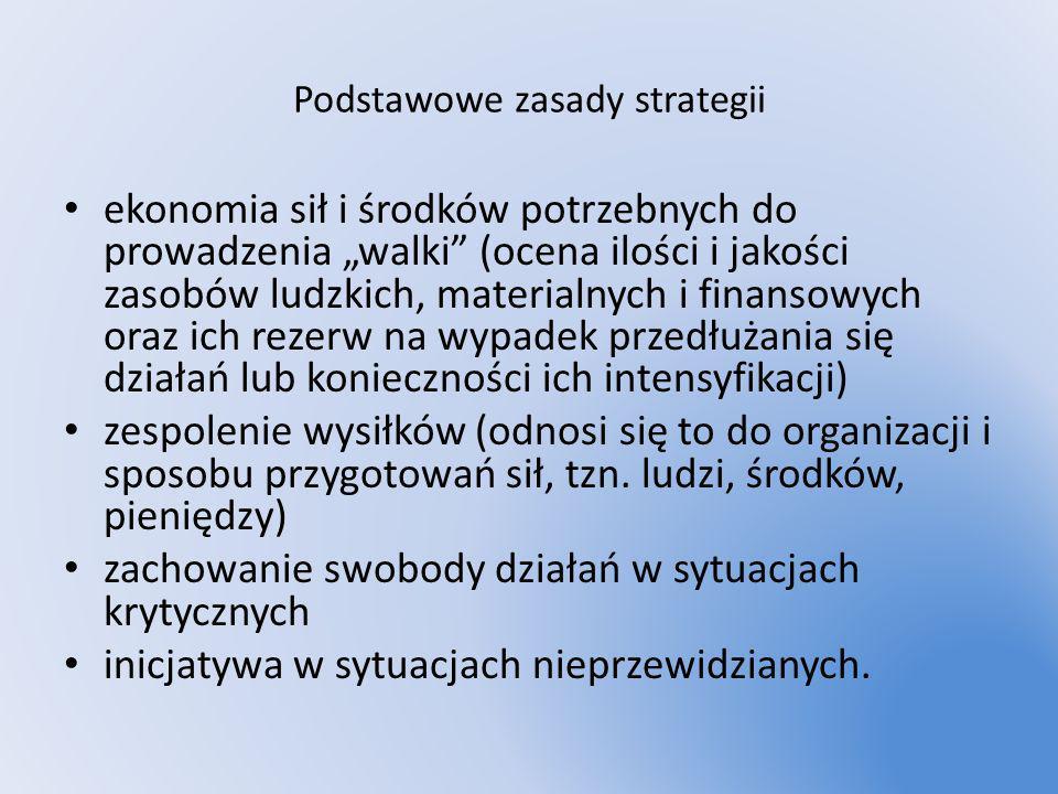 Podstawowe zasady strategii ekonomia sił i środków potrzebnych do prowadzenia walki (ocena ilości i jakości zasobów ludzkich, materialnych i finansowy