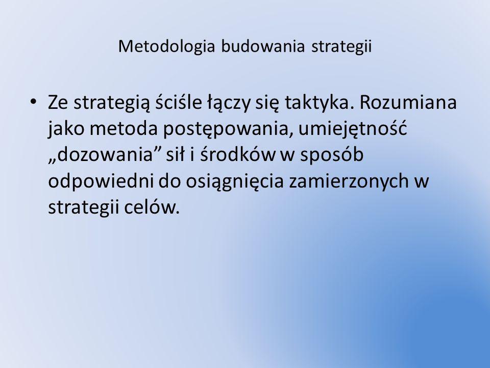 Metodologia budowania strategii Ze strategią ściśle łączy się taktyka. Rozumiana jako metoda postępowania, umiejętność dozowania sił i środków w sposó