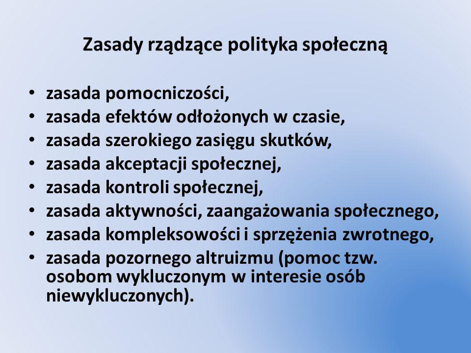 Zasady rządzące polityka społeczną zasada pomocniczości, zasada efektów odłożonych w czasie, zasada szerokiego zasięgu skutków, zasada akceptacji społ