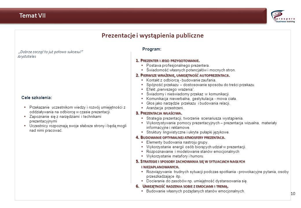 Prezentacje i wystąpienia publiczne Dobrze zacząć to już połowa sukcesu! Arystoteles 10 Temat VII Cele szkolenia: Przekazanie uczestnikom wiedzy i roz