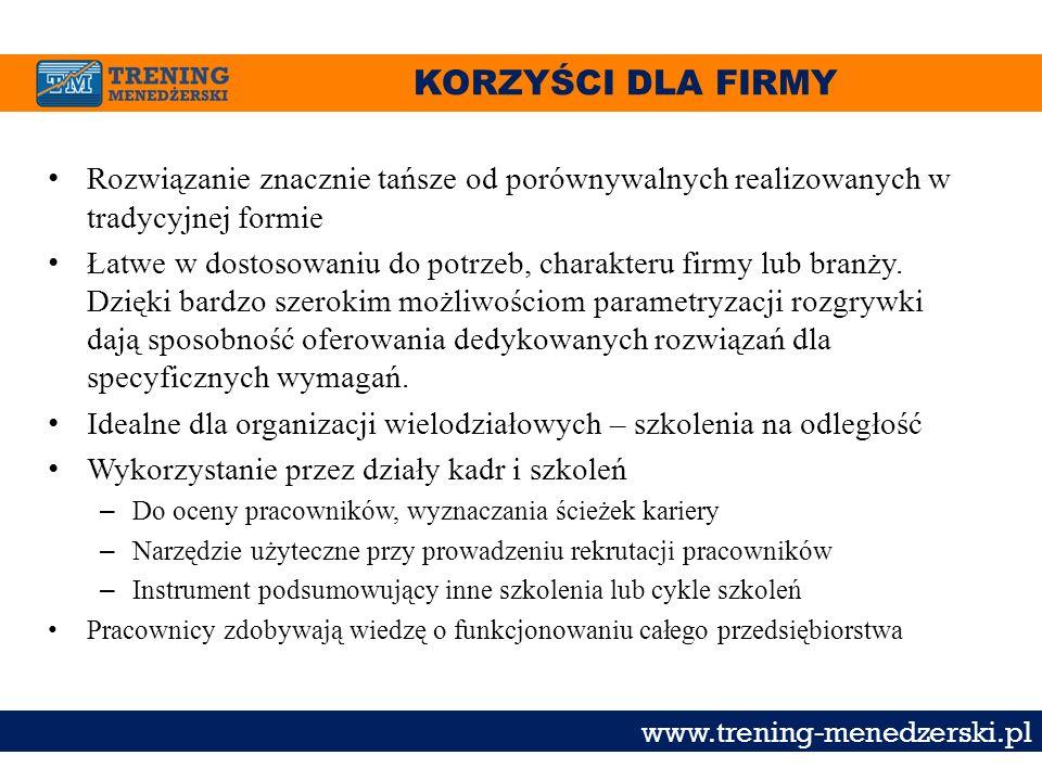 KORZYŚCI DLA FIRMY www.trening-menedzerski.pl Rozwiązanie znacznie tańsze od porównywalnych realizowanych w tradycyjnej formie Łatwe w dostosowaniu do