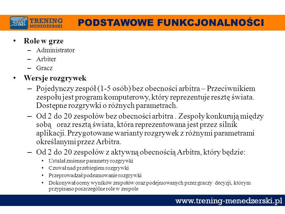 PODSTAWOWE FUNKCJONALNOŚCI www.trening-menedzerski.pl Role w grze – Administrator – Arbiter – Gracz Wersje rozgrywek – Pojedynczy zespół (1-5 osób) be