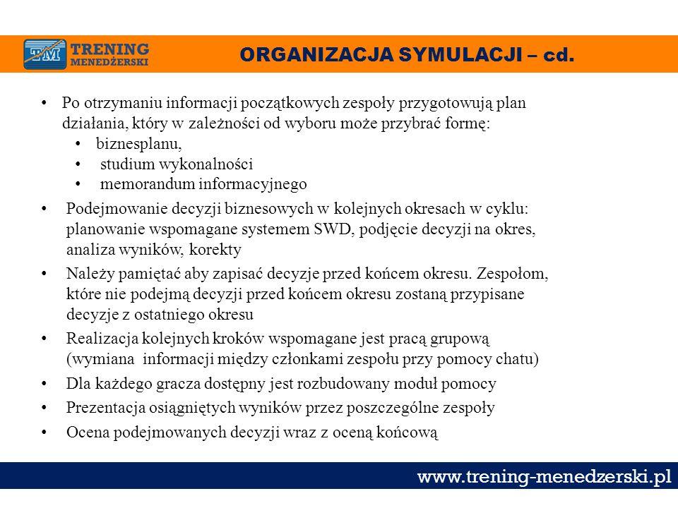ORGANIZACJA SYMULACJI – cd. www.trening-menedzerski.pl Po otrzymaniu informacji początkowych zespoły przygotowują plan działania, który w zależności o