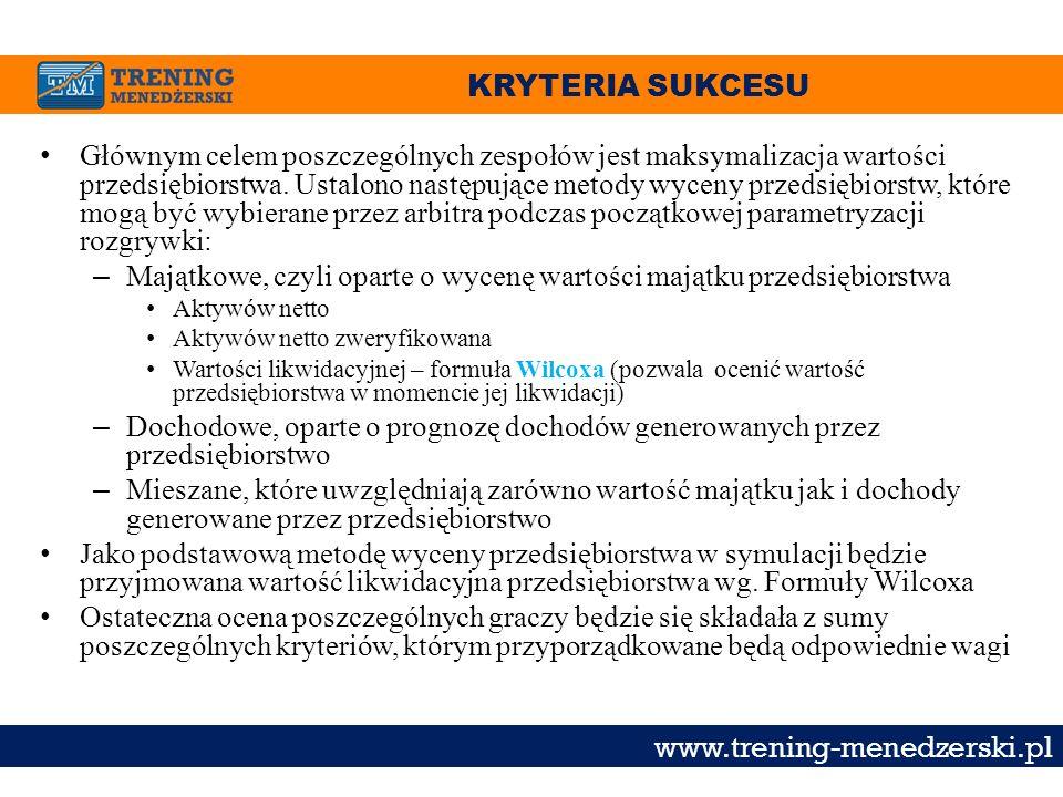 KRYTERIA SUKCESU www.trening-menedzerski.pl Głównym celem poszczególnych zespołów jest maksymalizacja wartości przedsiębiorstwa. Ustalono następujące