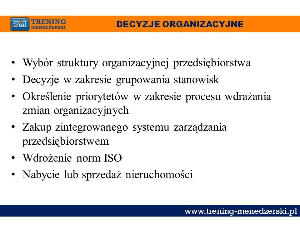 DECYZJE ORGANIZACYJNE www.trening-menedzerski.pl Wybór struktury organizacyjnej przedsiębiorstwa Decyzje w zakresie grupowania stanowisk Określenie pr